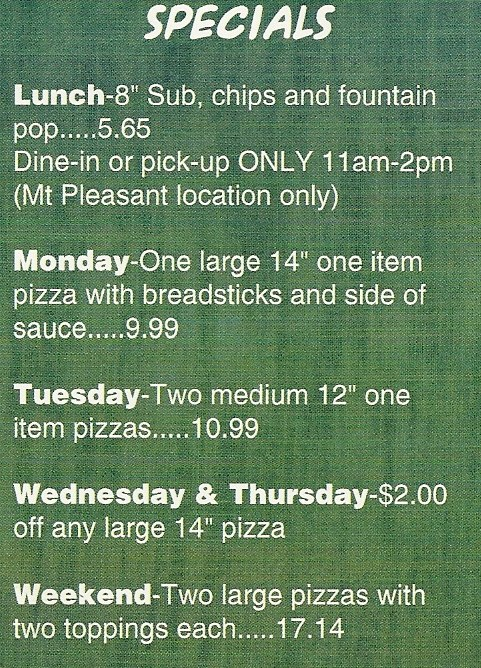 Pizza King Specials